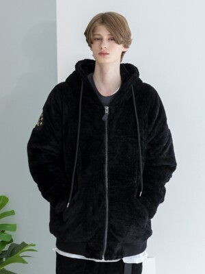[XTONZ] XJ3 HOOD FUR JACKET - BLACK