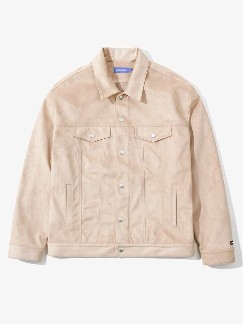 SNAP SUEDE TRUCKER JACKET BEIGE
