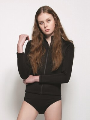 SWIM ZIP JACKET_WOMEN_BLACK