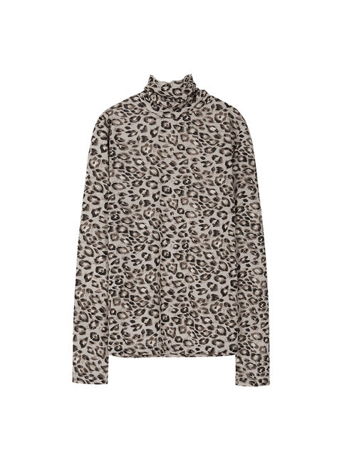 ERINA FITTED LONG-SLEEVE TURTLENECK T-SHIRT atb234w(MOCHA LEOPARD)
