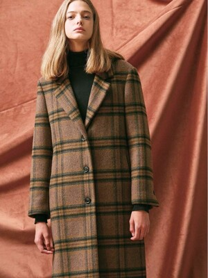 SIDE SLIT OVERSIZED SINGLE COAT. BROWN CHECK