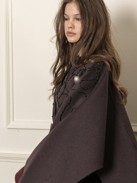 Oversized cape coat_eggplant