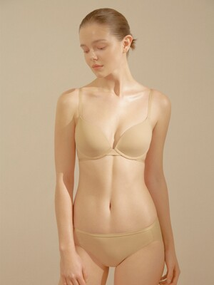 [SET_Underwear] Eco cushion Plunge Bra + Out band Hem Briefs_4colors