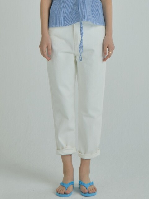 Side Blocking Denim Pants_Ivory