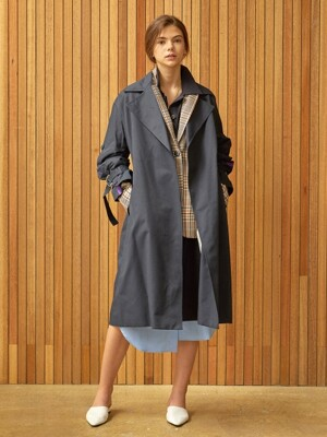 placket sleeve trench coat Navy