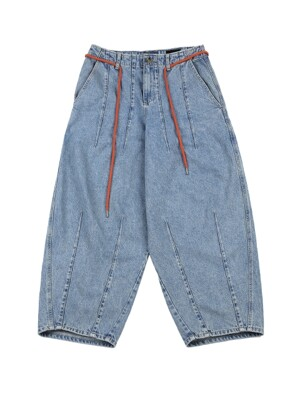 Washed Denim Oversized Pants [Blue]