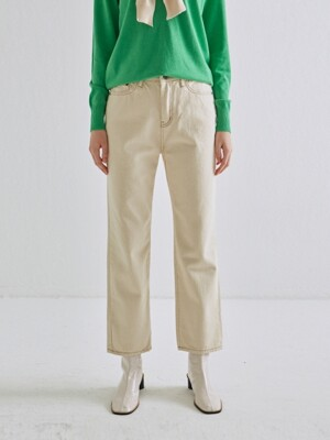 STRAIGHT LINE COTTON PANTS_CREAM