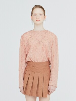 19FW SHEER FIL COUPE BASIC BLOUSE - INDIAN PINK