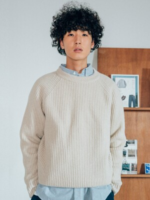 Wool Crew Neck Knit(Oatmeal)