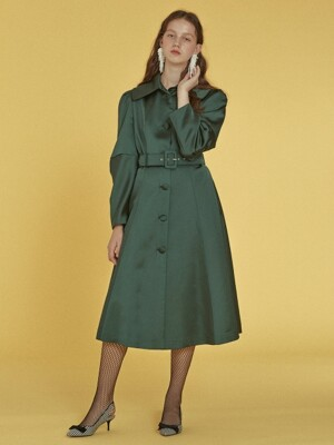 Elbow Shirring Coat Dress _ Green