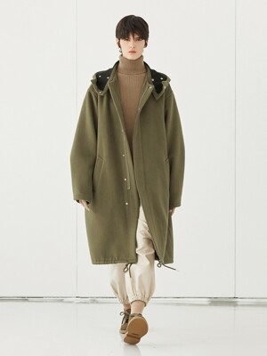 WOOL OVER HOODIE COAT_KHAKI
