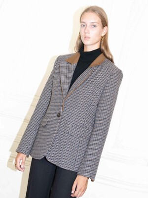 [19FW] VOLTAIRE detachable collar blazer_Brown gingham check