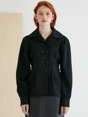 comos`267 collar point puff shirt (black)