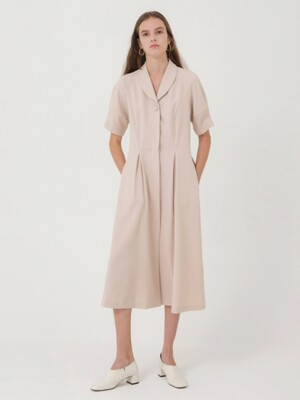 Shawl Collar Jacket Dress - Beige