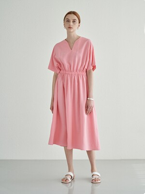 NATURAL LINEN LONG ONE-PIECE PINK