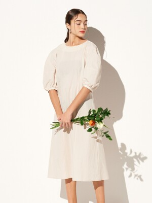 PUFF SLEEVE LONG ONE-PIECE IVORY