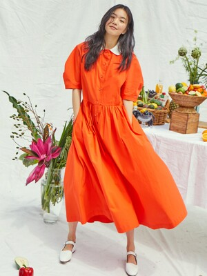 [20SS] MELROSE round collar over sized shirt dress (Tomato red)