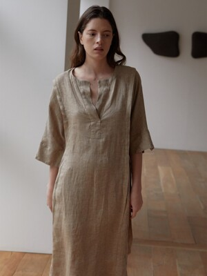BORN LINEN DRESS (BROWN)