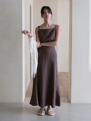 LINEN SKIRT - BROWN
