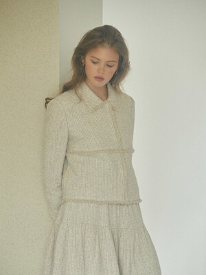 [EXCLUSIVE] High-rise tweed tiered mini skirt