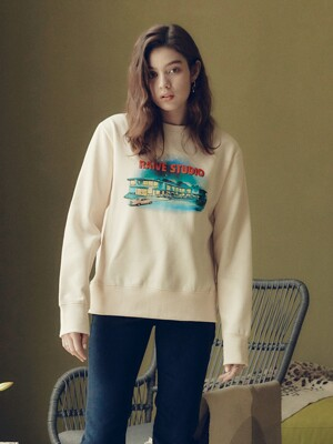 Fluff Print Sweatshirt in Cream_VW0WE3500