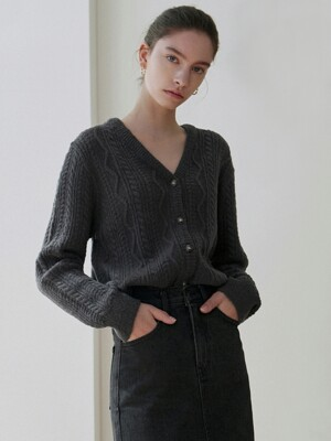 FISHERMAN V KNIT CARDIGAN_CHARCOAL