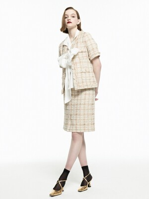 [Tweed] Fringed Tweed Jacket + H-line Skirt SET