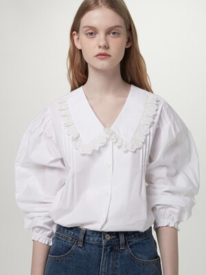 Ruffled collar blouse - White