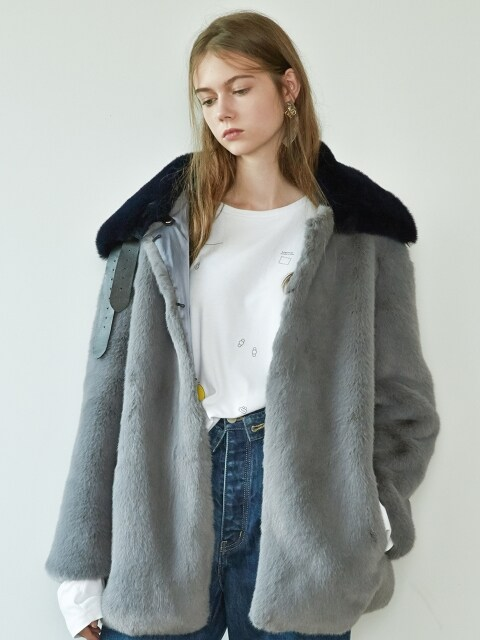 17FW DETACHABLE-COLLAR FUR COAT (GRAY)