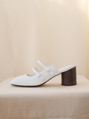 button mary jane mules White
