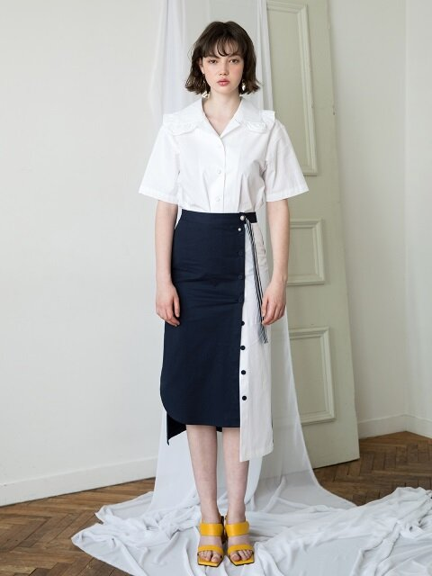 unbalance color P button skirt