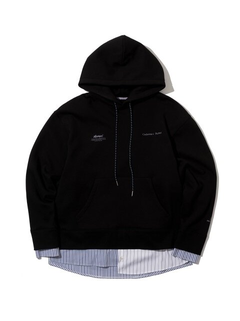 stripe shirt layered lettering black hoodie