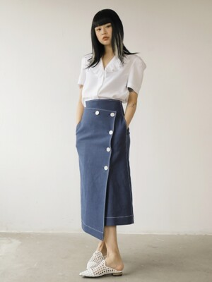 19SS BUTTON LINEN SKIRT /NAVY