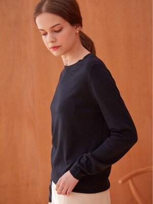 BASIC CASHMERE C- NECK KNIT (NAVY)