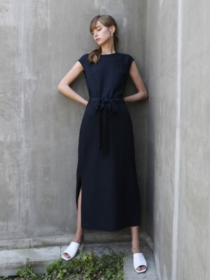 Linen Belted One-piece_Navy