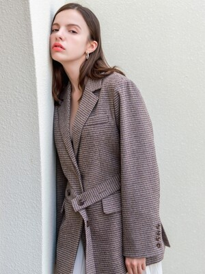 Wool Hound Tooth Check Belted Jacket