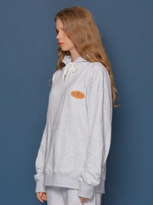 Leather Patch Hoodie (PALE MELANGE)