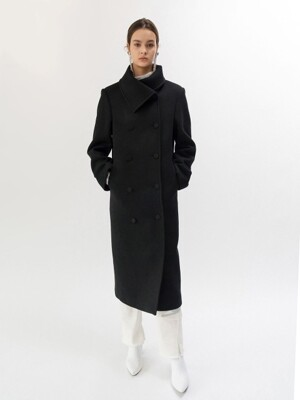 19FW HIGH-NECK WOOL COAT (BLACK)
