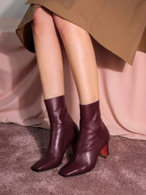 Line Ankle Boots2(wine)