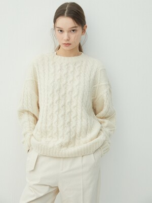 CREAM alpaca cable knit (KT010)