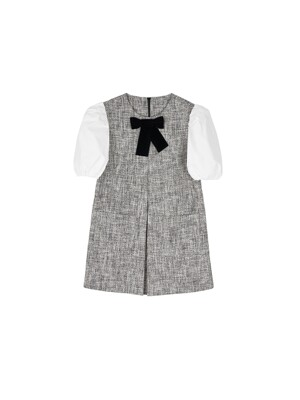 Tweed ribbon balloon dress - Black