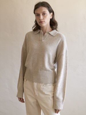 NEP Crop Collar Knit (Oatmeal)