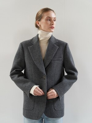 NTW HERRINGBONE WOOL BLAZER 2COLOR