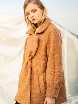 Wool Ribbon Raglan Coat_Brown