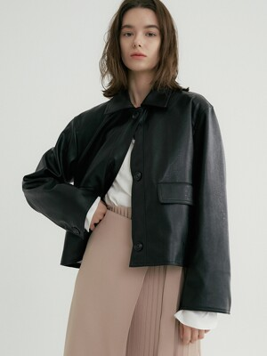 comos'335 matte leather short jacket (black)