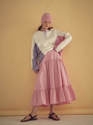 CAN CAN LONG SKIRT - PINK/BLACK