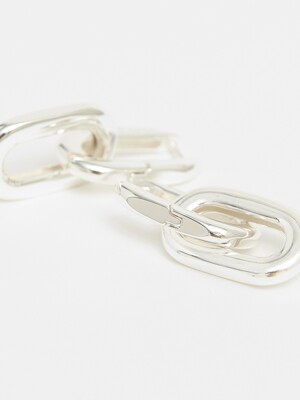 Silver double link earrings_B205AIW005SI