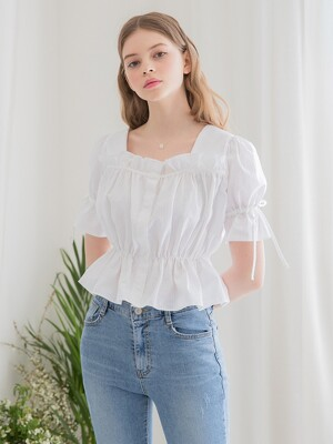 Frill Crop Blouse White
