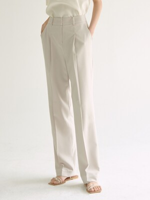 tuck wide leg pant - ivory