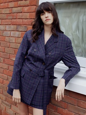 [PREMIUM CERAMICA] DOUBLE BREASTED BELTED JACKET IN CHECK AEJA0E003N3